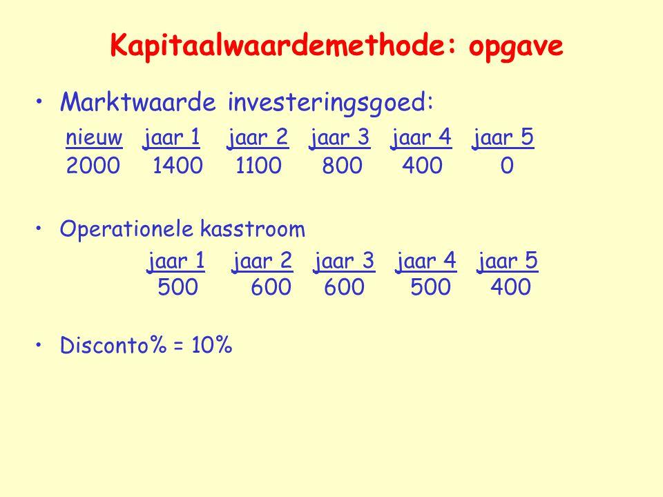 Kapitaalwaardemethode: opgave Marktwaarde investeringsgoed: nieuw jaar 1 jaar 2 jaar 3 jaar 4 jaar 5 2000 1400 1100 800 400 0 Operationele kasstroom j