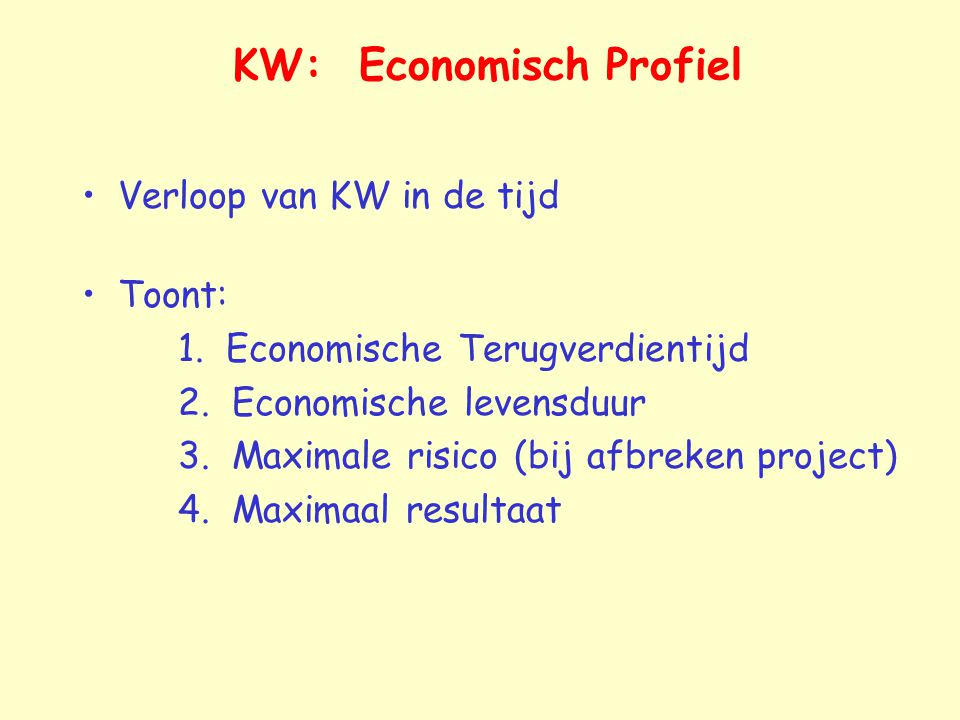 KW: Economisch Profiel Verloop van KW in de tijd Toont: 1. Economische Terugverdientijd 2. Economische levensduur 3. Maximale risico (bij afbreken pro