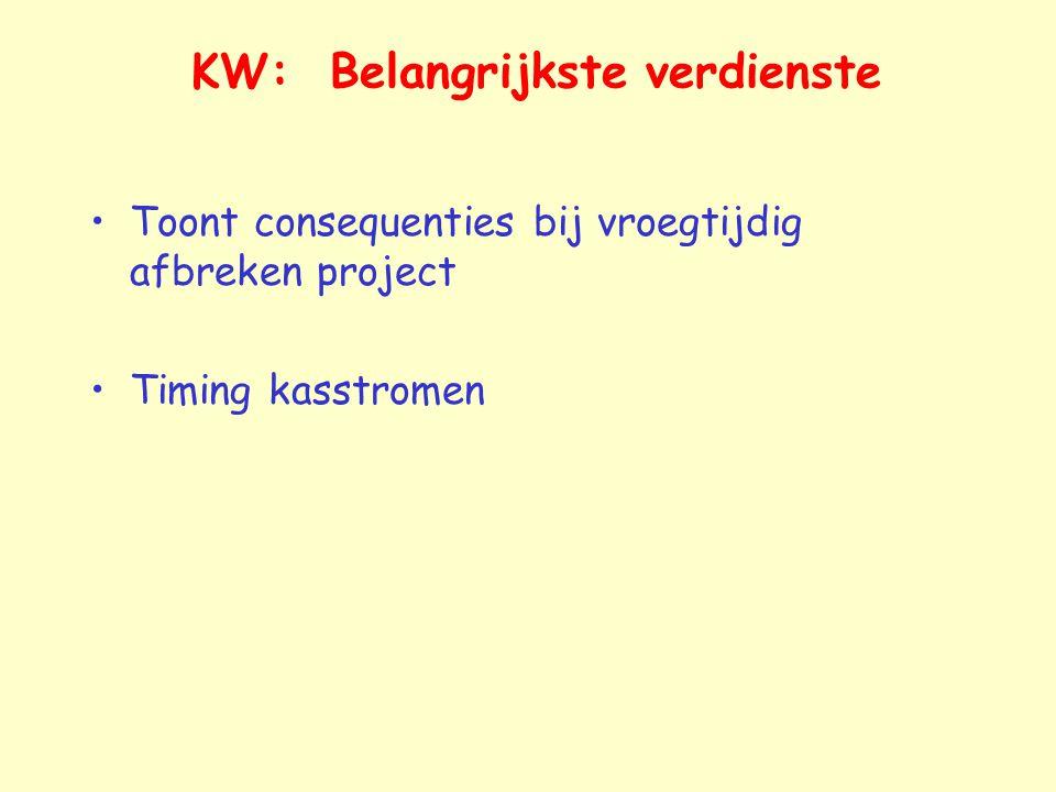 KW: Belangrijkste verdienste Toont consequenties bij vroegtijdig afbreken project Timing kasstromen