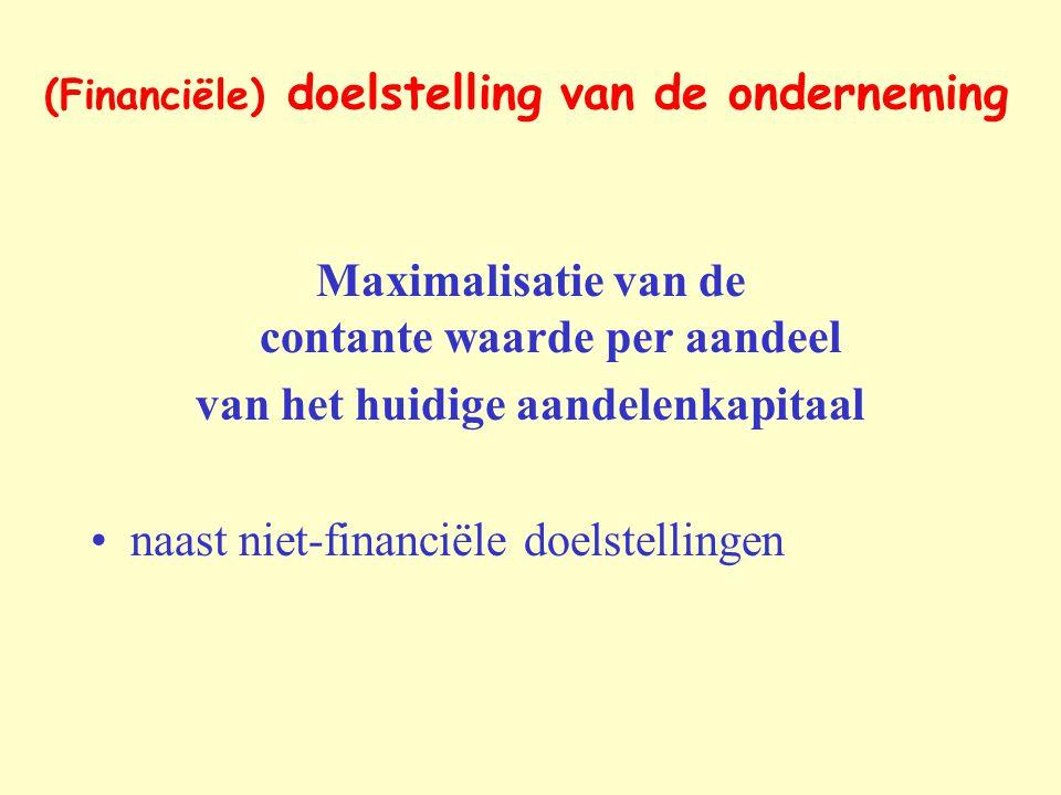 (Financiële) doelstelling van de onderneming Maximalisatie van de contante waarde per aandeel van het huidige aandelenkapitaal naast niet-financiële d