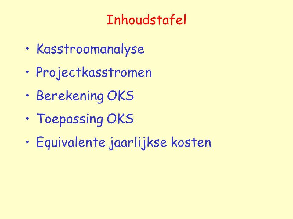 Inhoudstafel Kasstroomanalyse Projectkasstromen Berekening OKS Toepassing OKS Equivalente jaarlijkse kosten