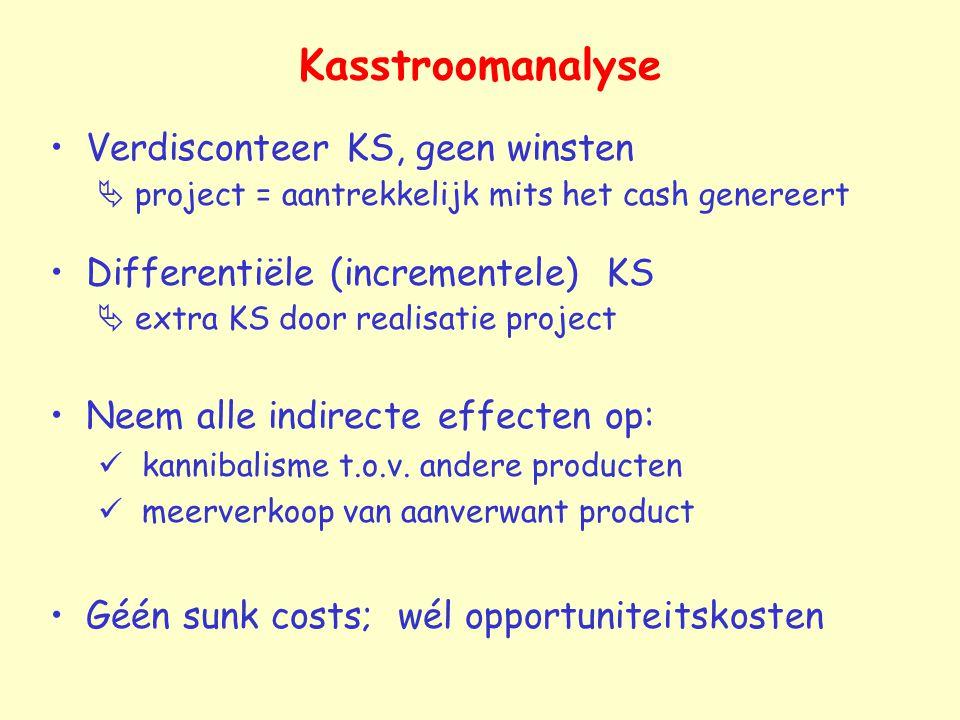 Kasstroomanalyse Verdisconteer KS, geen winsten  project = aantrekkelijk mits het cash genereert Differentiële (incrementele) KS  extra KS door real