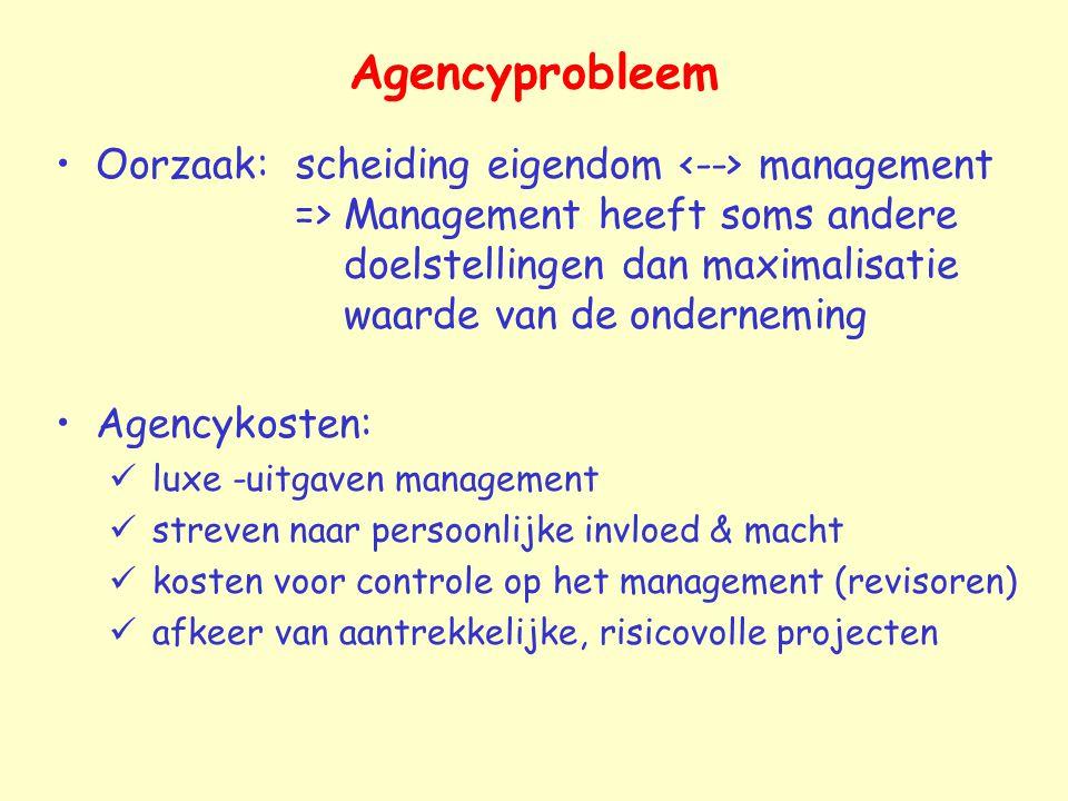 Agencyprobleem Oorzaak: scheiding eigendom management => Management heeft soms andere doelstellingen dan maximalisatie waarde van de onderneming Agenc