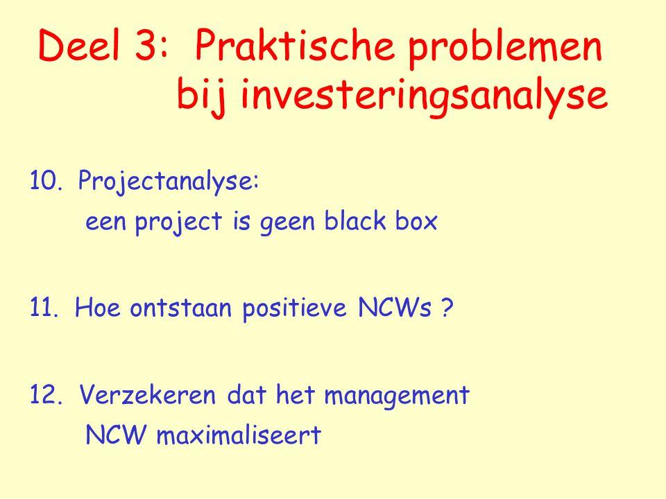 Deel 3: Praktische problemen bij investeringsanalyse 10.