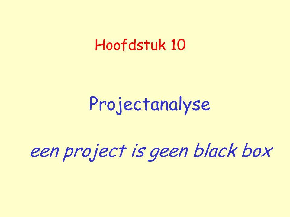 Hoofdstuk 10 Projectanalyse een project is geen black box