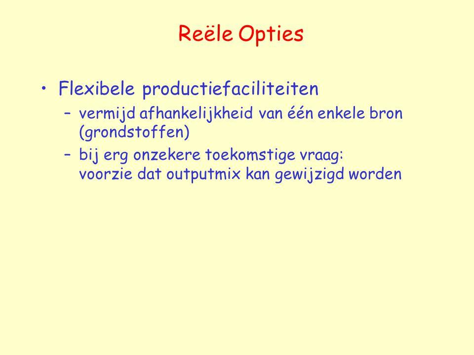 Reële Opties Flexibele productiefaciliteiten –vermijd afhankelijkheid van één enkele bron (grondstoffen) –bij erg onzekere toekomstige vraag: voorzie dat outputmix kan gewijzigd worden