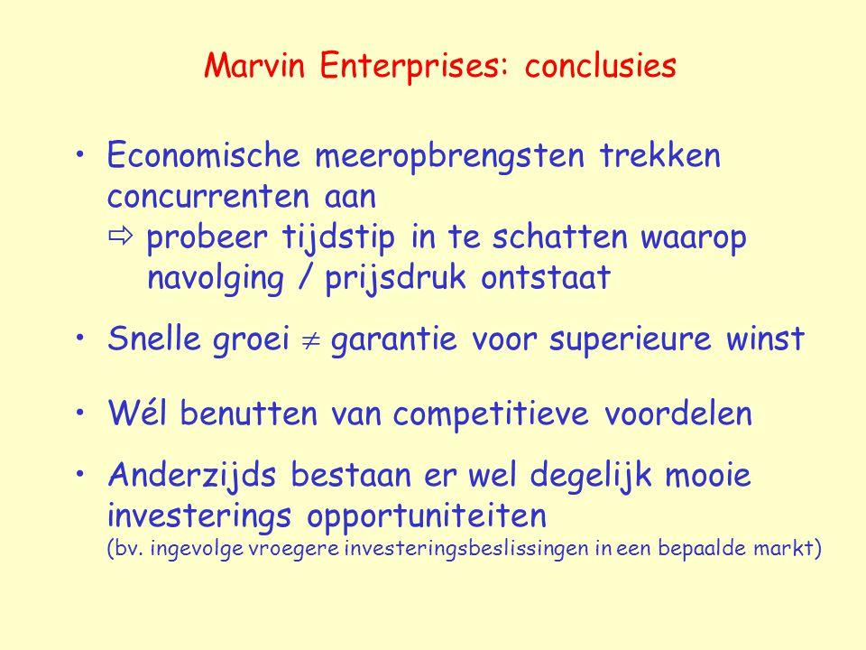 Marvin Enterprises: conclusies Economische meeropbrengsten trekken concurrenten aan  probeer tijdstip in te schatten waarop navolging / prijsdruk ontstaat Snelle groei  garantie voor superieure winst Wél benutten van competitieve voordelen Anderzijds bestaan er wel degelijk mooie investerings opportuniteiten (bv.