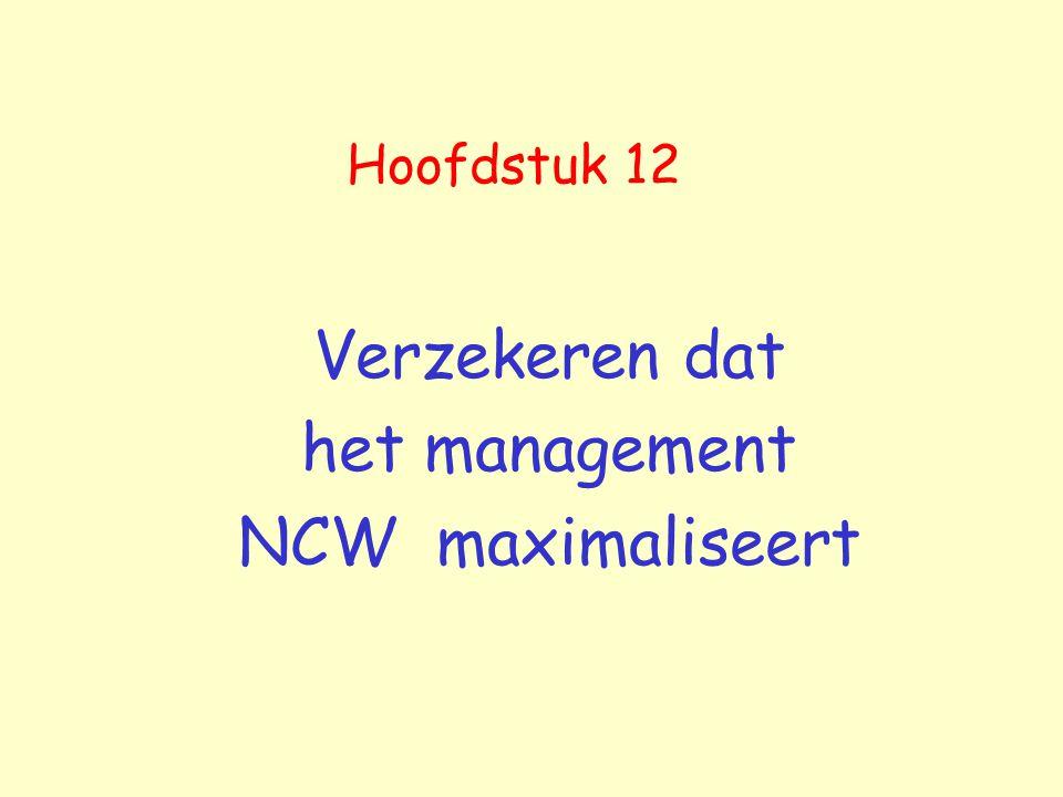 Hoofdstuk 12 Verzekeren dat het management NCW maximaliseert