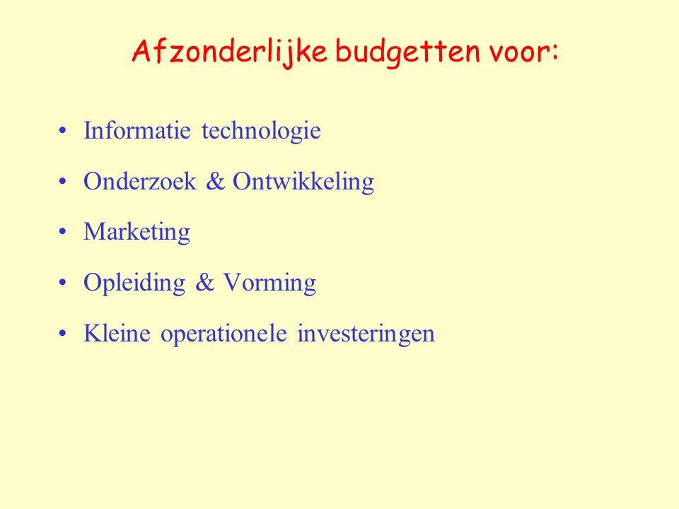 Afzonderlijke budgetten voor: Informatie technologie Onderzoek & Ontwikkeling Marketing Opleiding & Vorming Kleine operationele investeringen