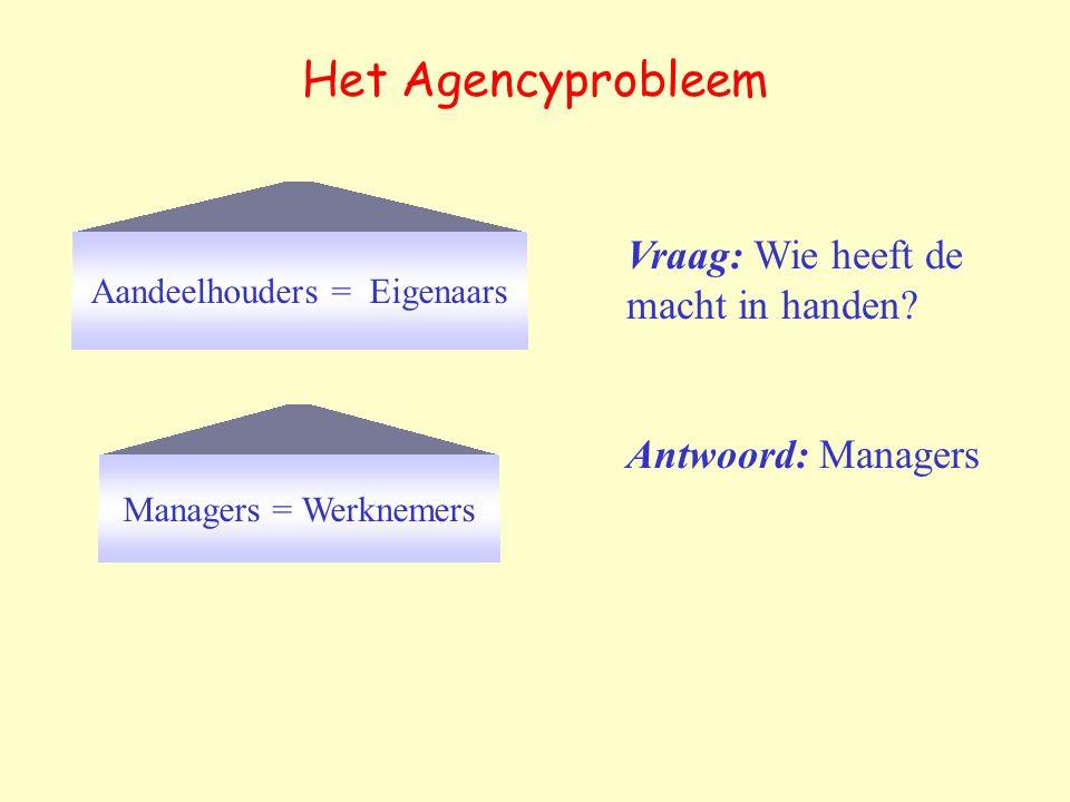 Het Agencyprobleem Aandeelhouders = Eigenaars Managers = Werknemers Vraag: Wie heeft de macht in handen.
