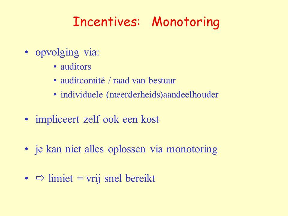 Incentives: Monotoring opvolging via: auditors auditcomité / raad van bestuur individuele (meerderheids)aandeelhouder impliceert zelf ook een kost je kan niet alles oplossen via monotoring  limiet = vrij snel bereikt