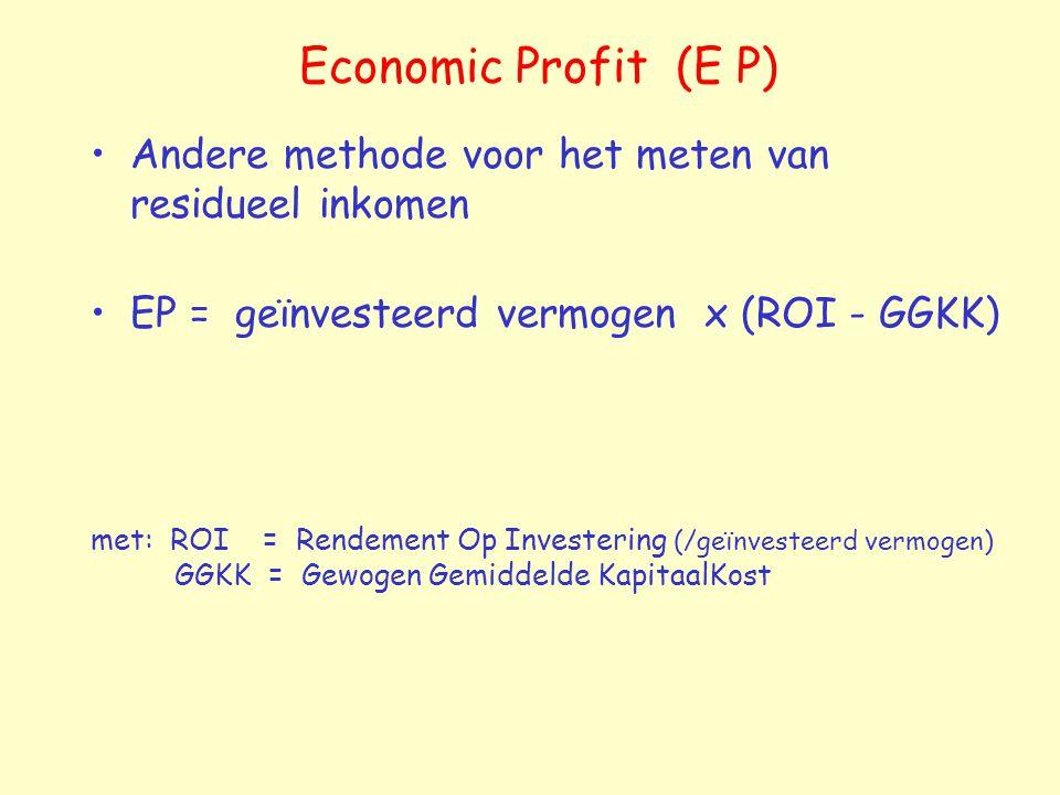 Economic Profit (E P) Andere methode voor het meten van residueel inkomen EP = geïnvesteerd vermogen x (ROI - GGKK) met: ROI = Rendement Op Investering (/geïnvesteerd vermogen) GGKK = Gewogen Gemiddelde KapitaalKost