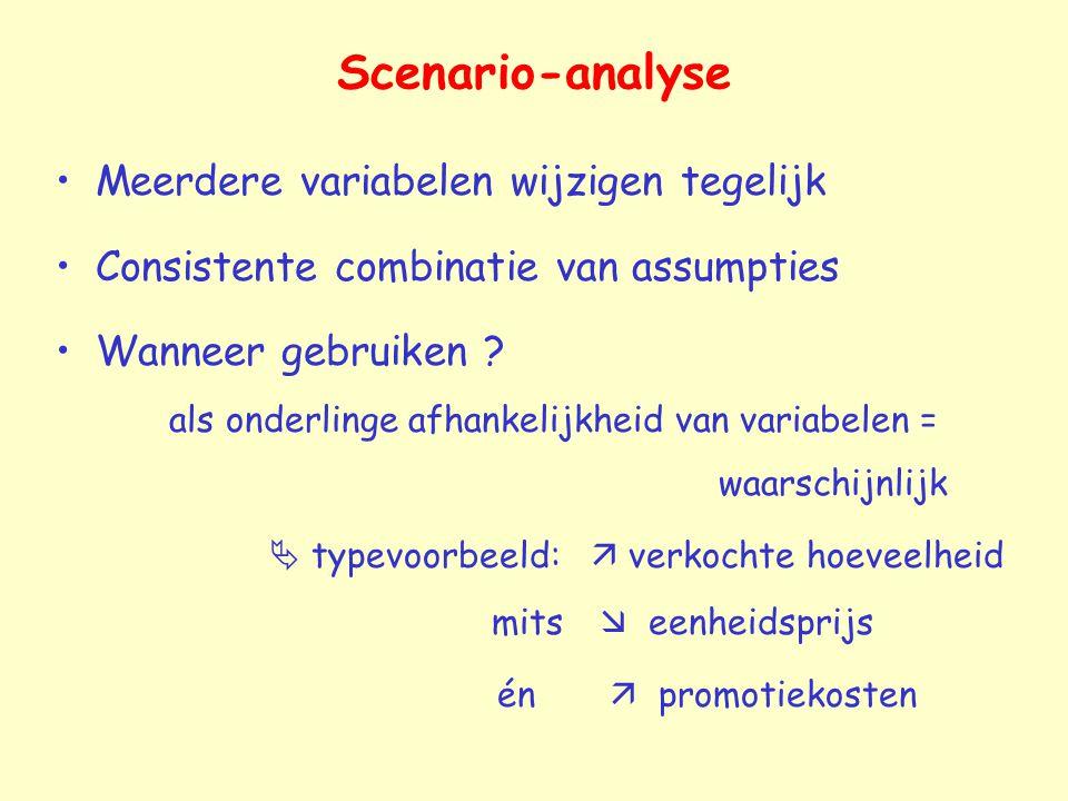 Scenario-analyse Meerdere variabelen wijzigen tegelijk Consistente combinatie van assumpties Wanneer gebruiken .