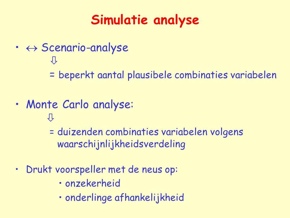 Simulatie analyse  Scenario-analyse  = beperkt aantal plausibele combinaties variabelen Monte Carlo analyse:  = duizenden combinaties variabelen volgens waarschijnlijkheidsverdeling Drukt voorspeller met de neus op: onzekerheid onderlinge afhankelijkheid