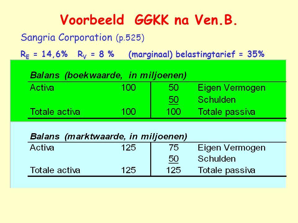 Voorbeeld GGKK na Ven.B. Sangria Corporation (p.525) R E = 14,6% R V = 8 % (marginaal) belastingtarief = 35%