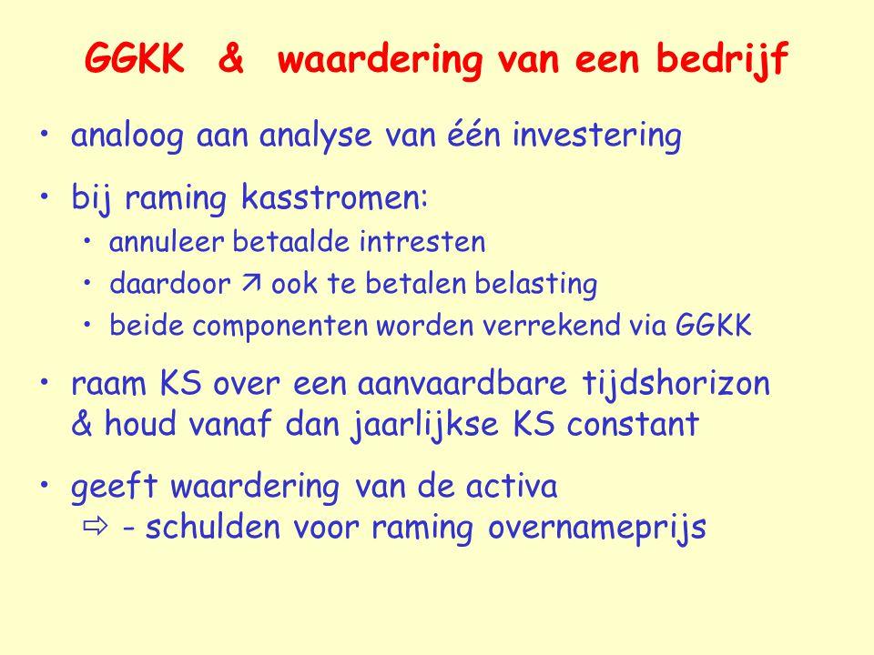 GGKK & waardering van een bedrijf analoog aan analyse van één investering bij raming kasstromen: annuleer betaalde intresten daardoor  ook te betalen
