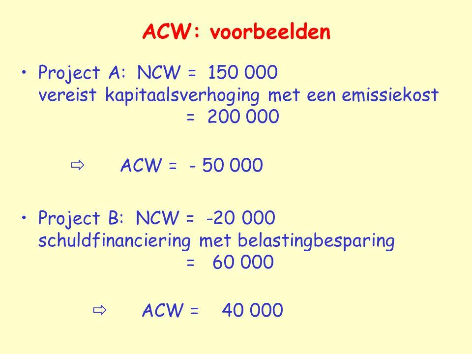 ACW: voorbeelden Project A: NCW = 150 000 vereist kapitaalsverhoging met een emissiekost = 200 000  ACW = - 50 000 Project B: NCW = -20 000 schuldfin