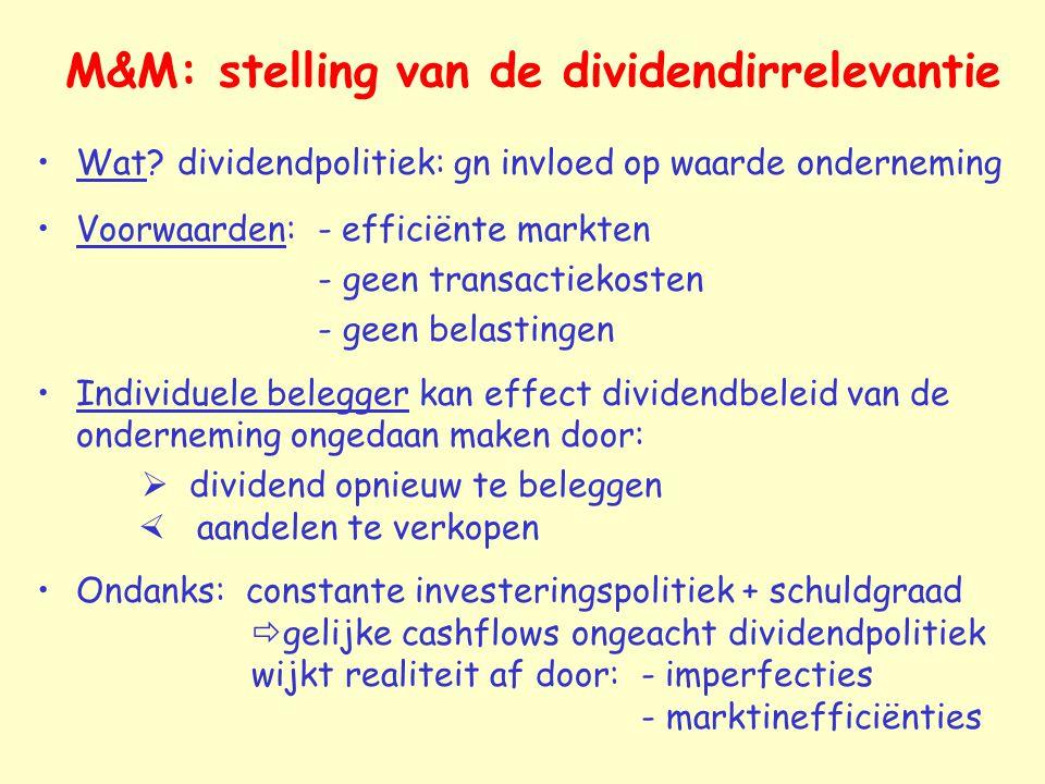 M&M: stelling van de dividendirrelevantie Wat? dividendpolitiek: gn invloed op waarde onderneming Voorwaarden: - efficiënte markten - geen transactiek