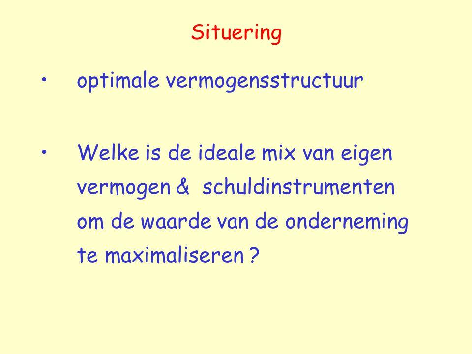 Situering optimale vermogensstructuur Welke is de ideale mix van eigen vermogen & schuldinstrumenten om de waarde van de onderneming te maximaliseren