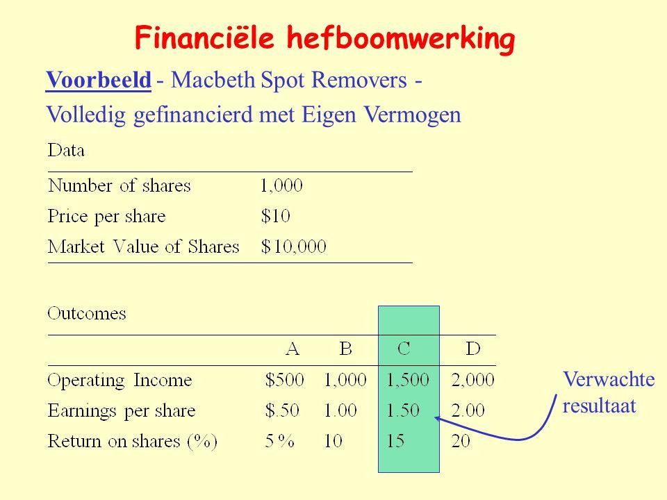 Voorbeeld - Macbeth Spot Removers - Volledig gefinancierd met Eigen Vermogen Verwachte resultaat Financiële hefboomwerking