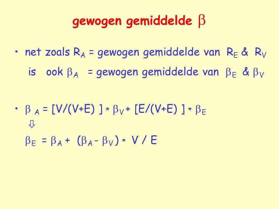 gewogen gemiddelde  net zoals R A = gewogen gemiddelde van R E & R V is ook  A = gewogen gemiddelde van  E &  V  A = [V/(V+E) ] *  V + [E/(V+E)