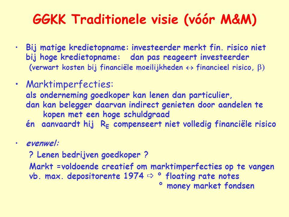GGKK Traditionele visie (vóór M&M) Bij matige kredietopname: investeerder merkt fin. risico niet bij hoge kredietopname: dan pas reageert investeerder