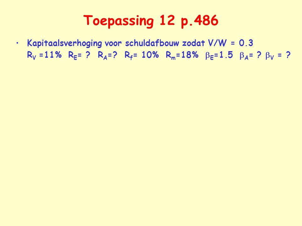 Toepassing 12 p.486 Kapitaalsverhoging voor schuldafbouw zodat V/W = 0.3 R V =11% R E = ? R A =? R f = 10% R m =18%  E =1.5  A = ?  V = ?