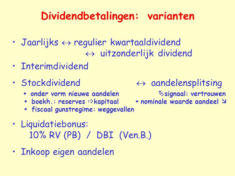 Dividendbetalingen: varianten Jaarlijks  regulier kwartaaldividend  uitzonderlijk dividend Interimdividend Stockdividend  aandelensplitsing  onder