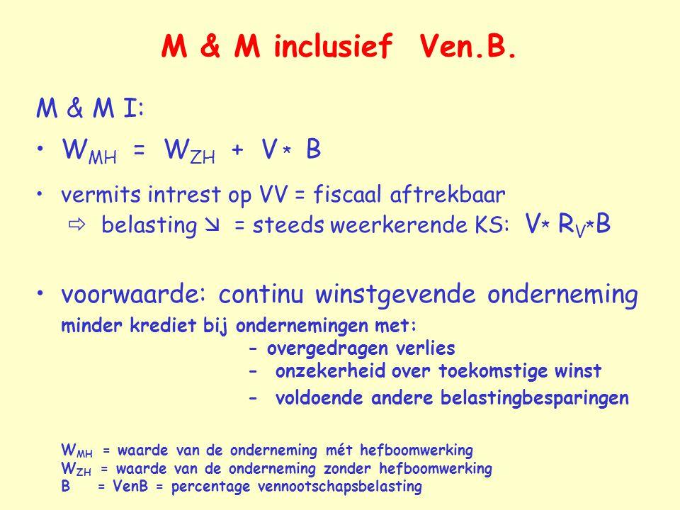 M & M inclusief Ven.B. M & M I: W MH = W ZH + V * B vermits intrest op VV = fiscaal aftrekbaar  belasting  = steeds weerkerende KS: V * R V * B voor
