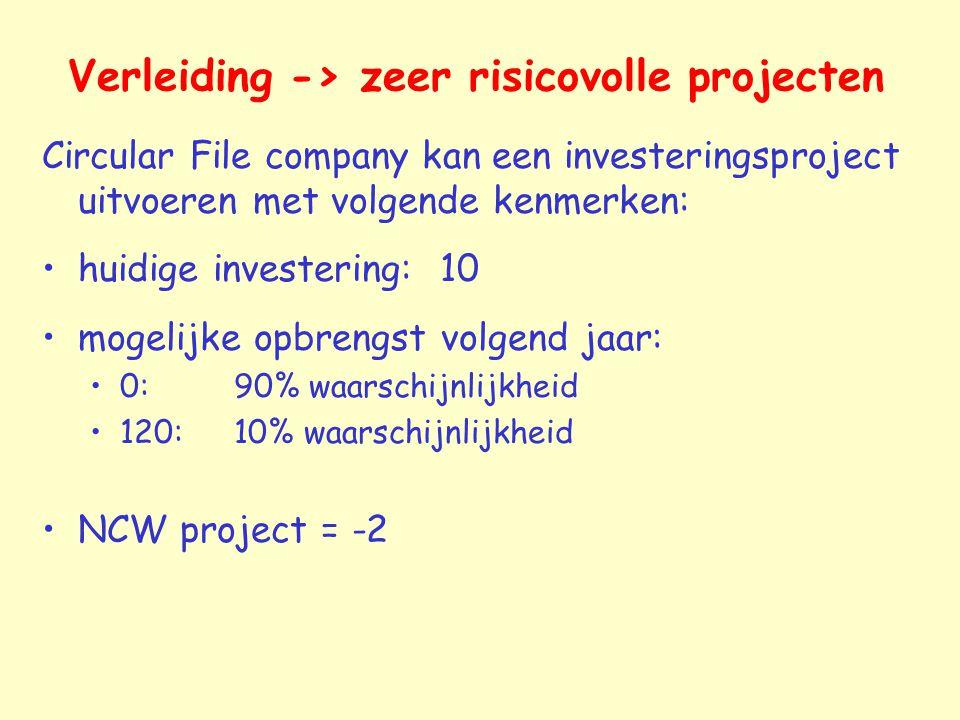 Verleiding -> zeer risicovolle projecten Circular File company kan een investeringsproject uitvoeren met volgende kenmerken: huidige investering: 10 m