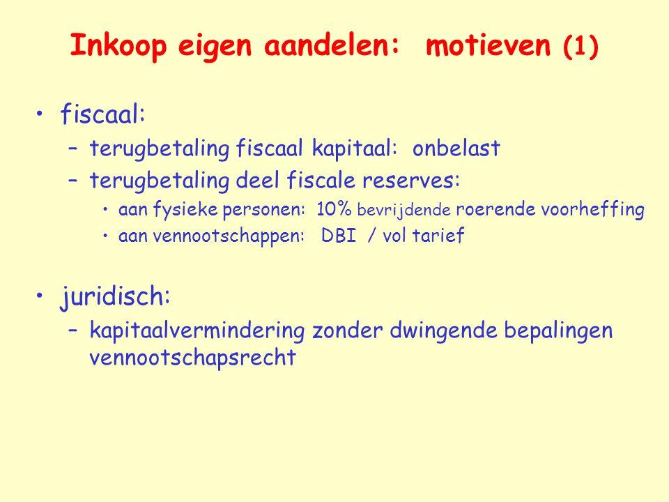 Inkoop eigen aandelen: motieven (1) fiscaal: –terugbetaling fiscaal kapitaal: onbelast –terugbetaling deel fiscale reserves: aan fysieke personen: 10%