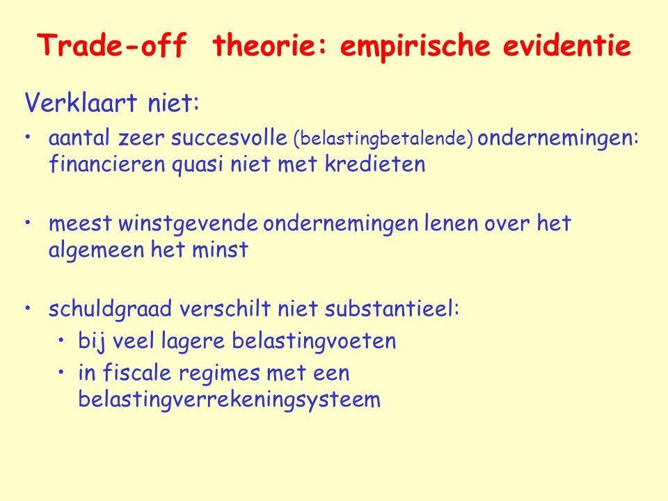 Trade-off theorie: empirische evidentie Verklaart niet: aantal zeer succesvolle (belastingbetalende) ondernemingen: financieren quasi niet met krediet
