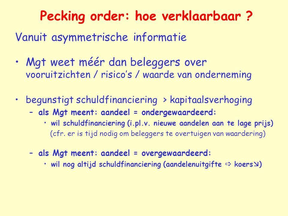 Pecking order: hoe verklaarbaar ? Vanuit asymmetrische informatie Mgt weet méér dan beleggers over vooruitzichten / risico's / waarde van onderneming