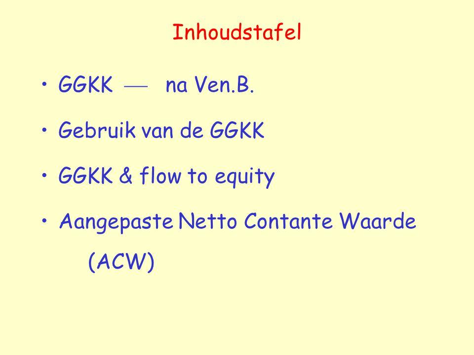 Inhoudstafel GGKK  na Ven.B. Gebruik van de GGKK GGKK & flow to equity Aangepaste Netto Contante Waarde (ACW)