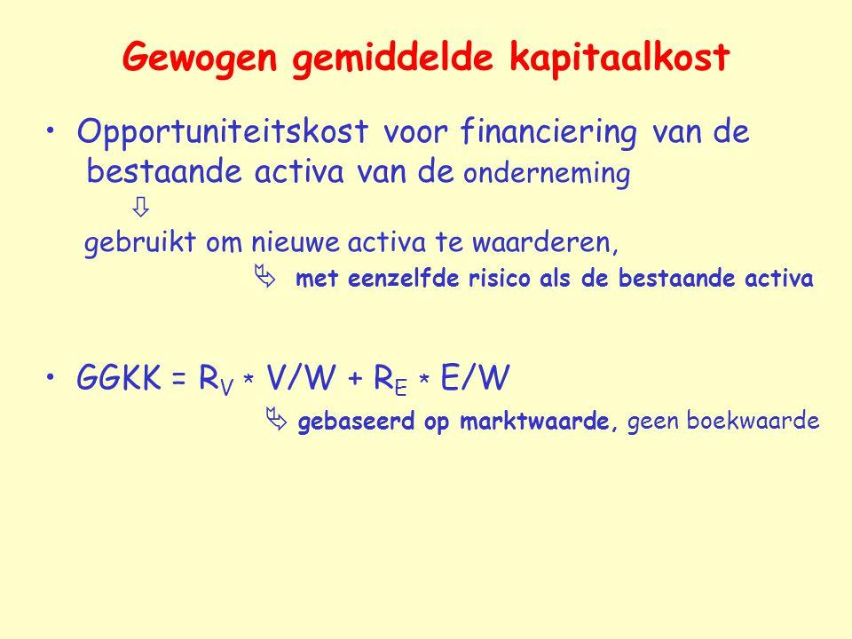 Gewogen gemiddelde kapitaalkost Opportuniteitskost voor financiering van de bestaande activa van de onderneming  gebruikt om nieuwe activa te waarder