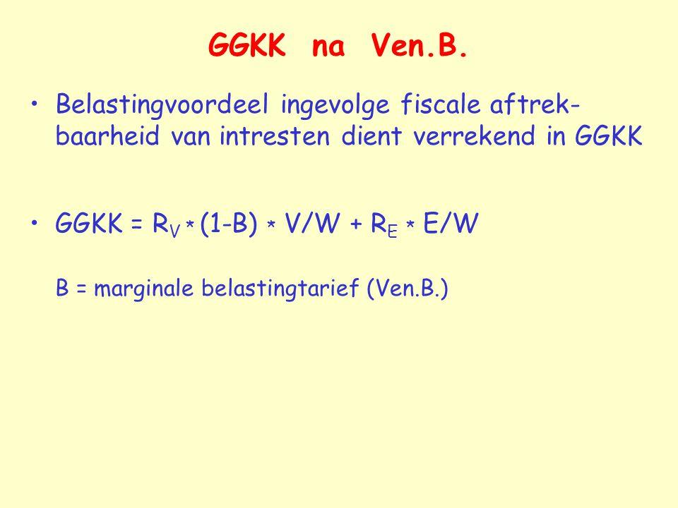 GGKK na Ven.B. Belastingvoordeel ingevolge fiscale aftrek- baarheid van intresten dient verrekend in GGKK GGKK = R V * (1-B) * V/W + R E * E/W B = mar