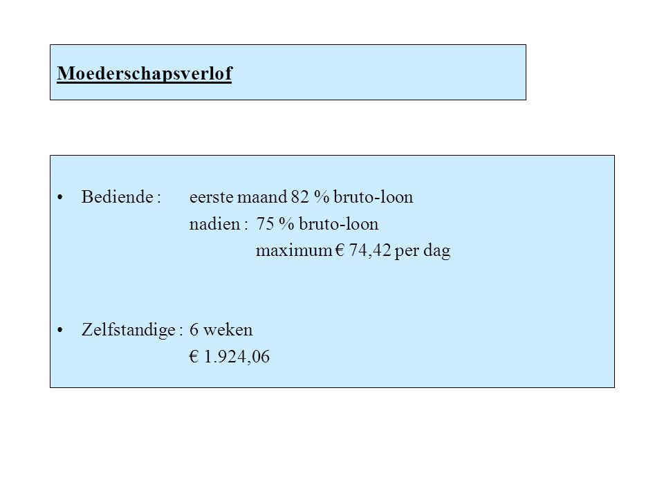 Moederschapsverlof Bediende :eerste maand 82 % bruto-loon nadien :75 % bruto-loon maximum € 74,42 per dag Zelfstandige :6 weken € 1.924,06