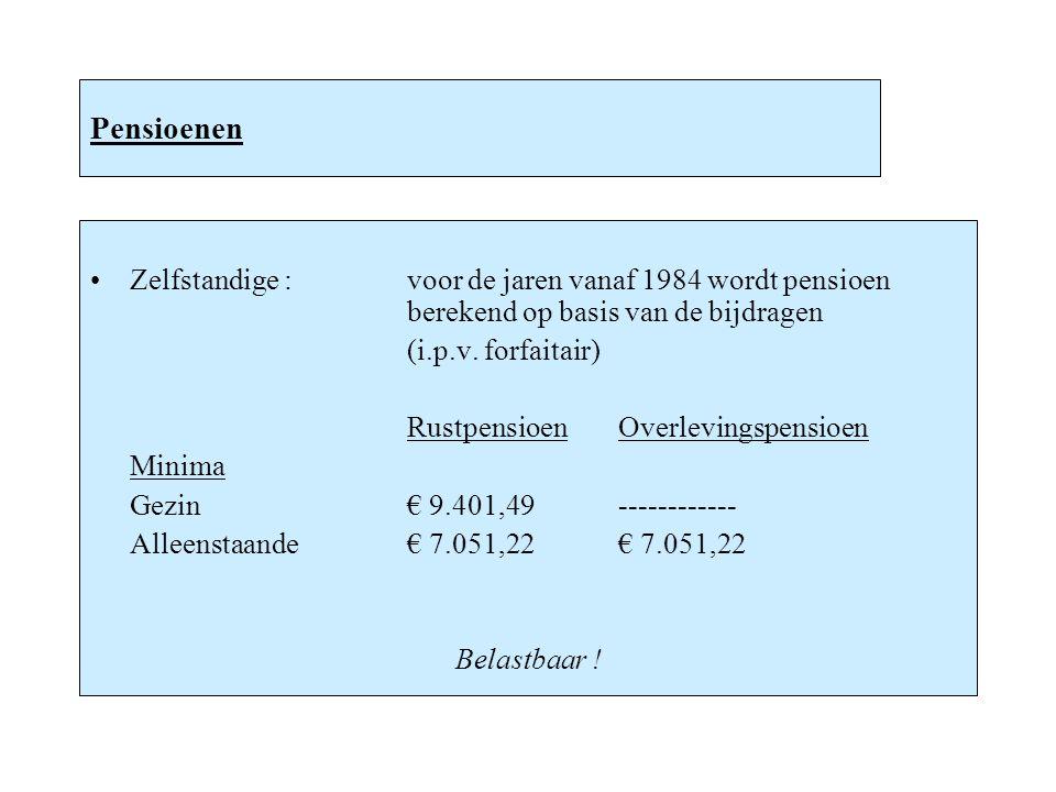 Pensioenen Zelfstandige :voor de jaren vanaf 1984 wordt pensioen berekend op basis van de bijdragen (i.p.v. forfaitair) RustpensioenOverlevingspensioe