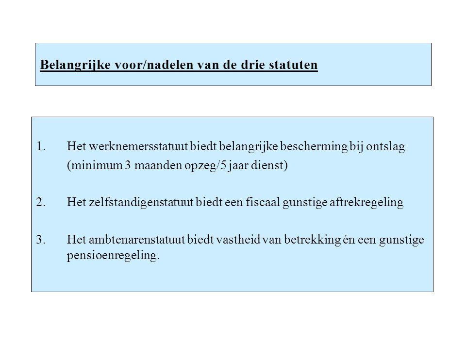 Belangrijke voor/nadelen van de drie statuten 1.Het werknemersstatuut biedt belangrijke bescherming bij ontslag (minimum 3 maanden opzeg/5 jaar dienst