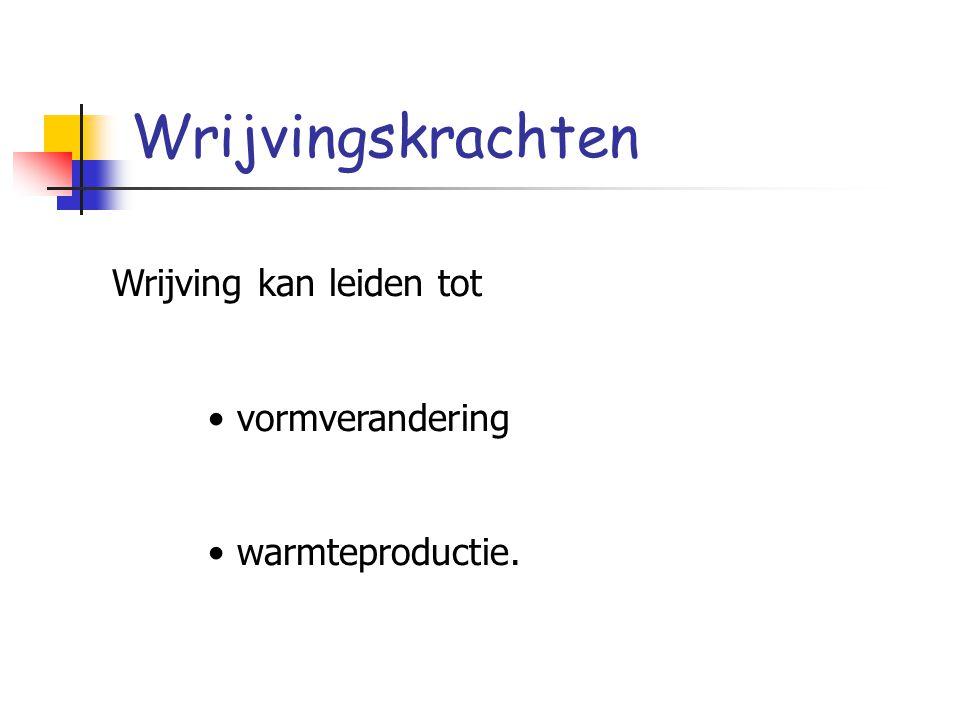 Wrijvingskrachten Wrijving kan leiden tot vormverandering warmteproductie.