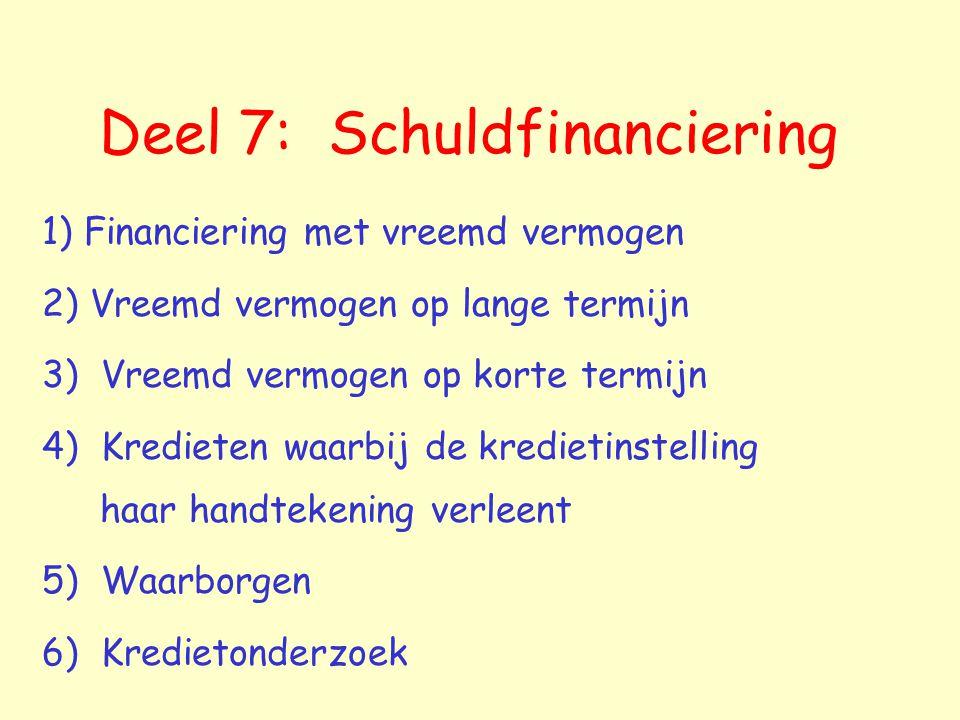 Deel 7: Schuldfinanciering 1) Financiering met vreemd vermogen 2) Vreemd vermogen op lange termijn 3) Vreemd vermogen op korte termijn 4) Kredieten wa