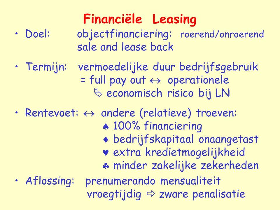 Financiële Leasing Doel: objectfinanciering: roerend/onroerend sale and lease back Termijn: vermoedelijke duur bedrijfsgebruik = full pay out  operat