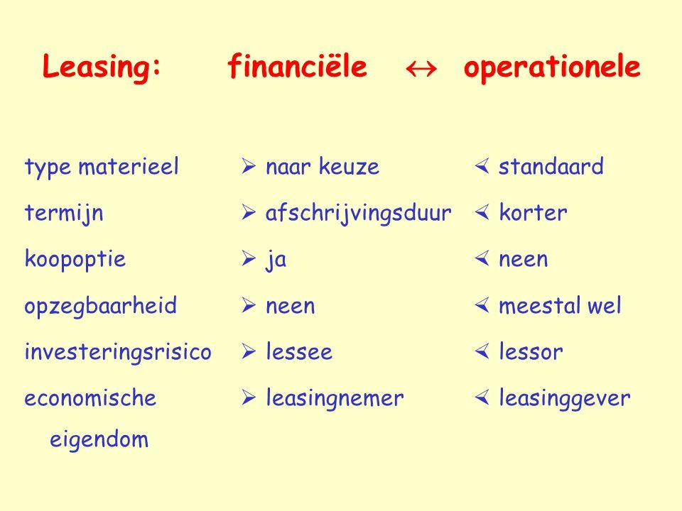 Leasing: financiële  operationele  standaard  korter  neen  meestal wel  lessor  leasinggever  naar keuze  afschrijvingsduur  ja  neen  le