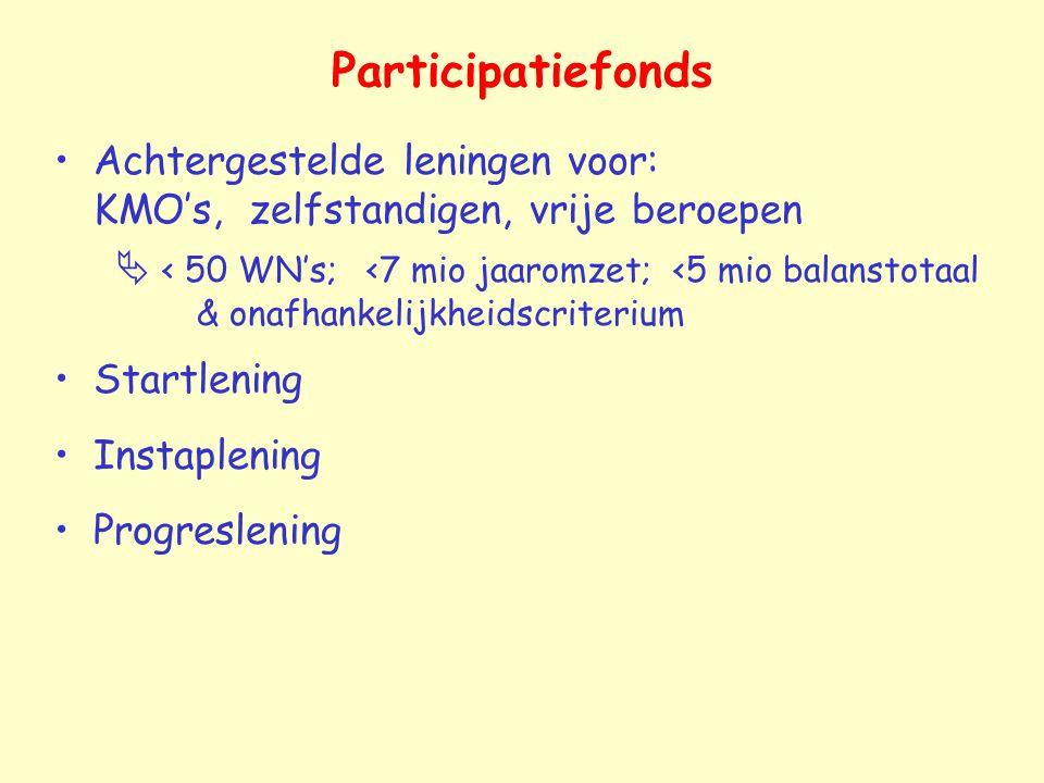 Participatiefonds Achtergestelde leningen voor: KMO's, zelfstandigen, vrije beroepen  < 50 WN's; <7 mio jaaromzet; <5 mio balanstotaal & onafhankelij