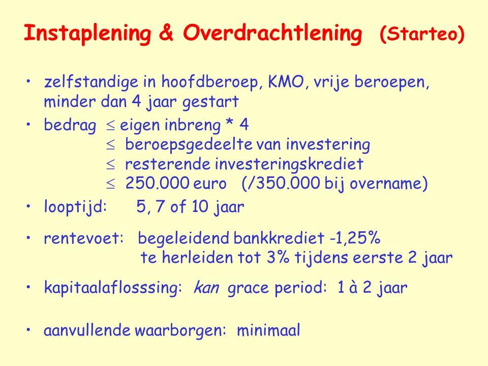 Instaplening & Overdrachtlening (Starteo) zelfstandige in hoofdberoep, KMO, vrije beroepen, minder dan 4 jaar gestart bedrag  eigen inbreng * 4  ber