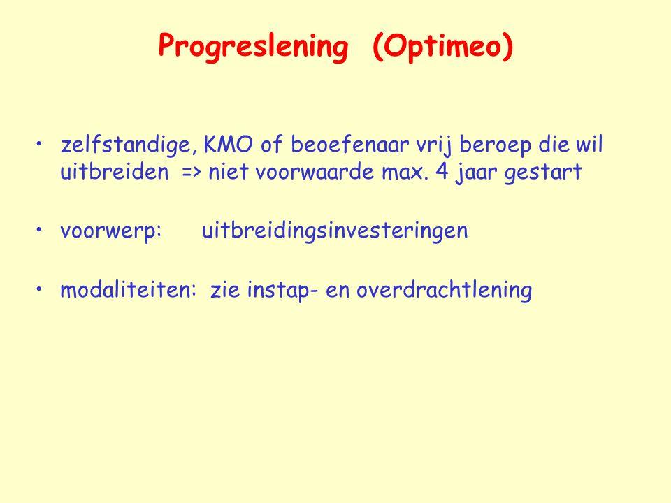 Progreslening (Optimeo) zelfstandige, KMO of beoefenaar vrij beroep die wil uitbreiden => niet voorwaarde max. 4 jaar gestart voorwerp: uitbreidingsin