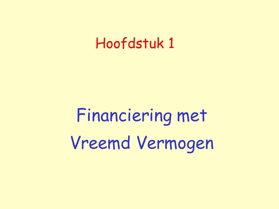 Hoofdstuk 1 Financiering met Vreemd Vermogen
