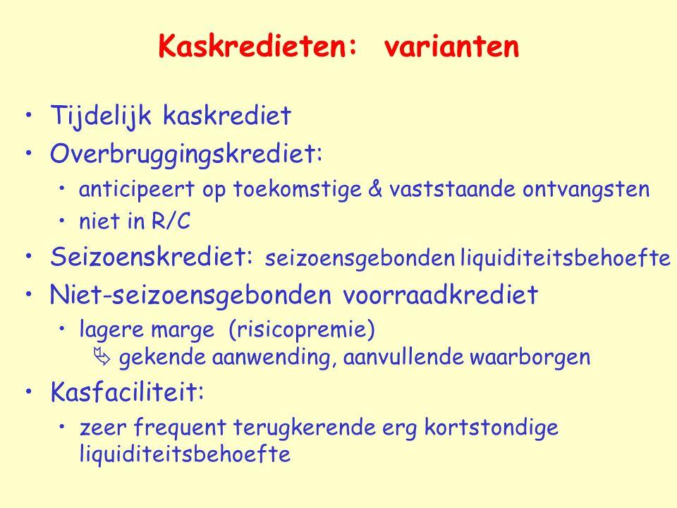 Kaskredieten: varianten Tijdelijk kaskrediet Overbruggingskrediet: anticipeert op toekomstige & vaststaande ontvangsten niet in R/C Seizoenskrediet: s