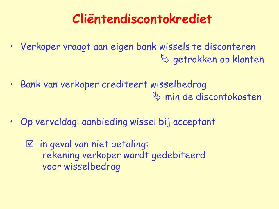 Cliëntendiscontokrediet Verkoper vraagt aan eigen bank wissels te disconteren  getrokken op klanten Bank van verkoper crediteert wisselbedrag  min d