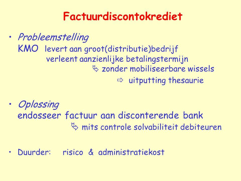 Factuurdiscontokrediet Probleemstelling KMO levert aan groot(distributie)bedrijf verleent aanzienlijke betalingstermijn  zonder mobiliseerbare wissel